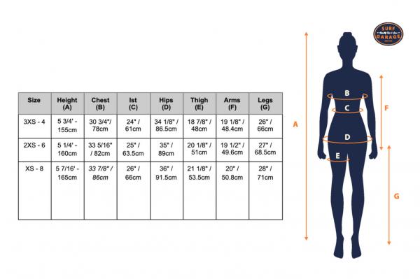 Neoprene swimsuit size guide